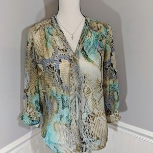 Allison Taylor sheer multicolored snake print top
